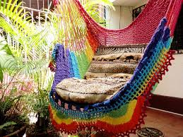 rainbow colors sitting hammock hanging chair natural cotton