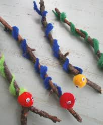 worm craft for children make a worm using a stick pipe cleaners