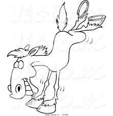 vector of a cartoon bucking horse outlined coloring page by
