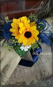 sunflower corsage sunflower corsage mini sunflowers wrist corsage navy blue