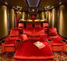 Home Cinema Living Room Ideas Amusing Home Theater Room Design Decorating Ideas With Red Sofa