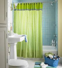 cute lime green accents curtain for small bathroom design idea