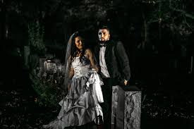 cemetery engagement shoot halloween themed wedding weddingbee