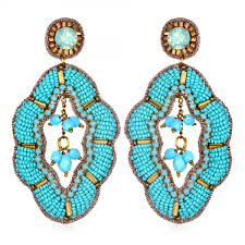turquoise earrings maghreb large drop earrings turquoise gold beaded lightweight