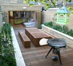 built in garden furniture patio eclectic with bench