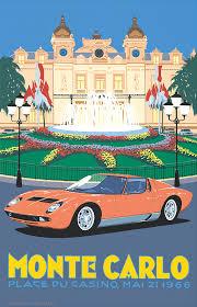 lamborghini car posters pel411 lamborghini miura monte carlo casino square by