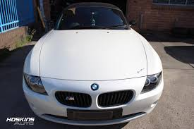 custom white bmw bmw e85 z4 front end repair and respay custom peal white 1 copy