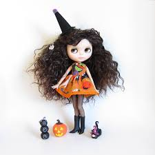 halloween dress for blythe doll orange with wicked witch brown