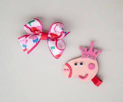 peppa pig ribbon peppa pig ribbon sculpture hair clip hair bow por irajojobowtique