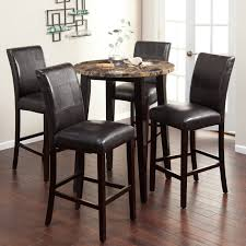Black Leather Chairs And Dining Table Round Black Wooden Table With Granite Top And Four Black Leather
