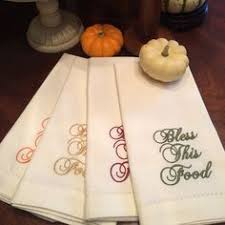thanksgiving bless this food embroidered cloth dinner napkins