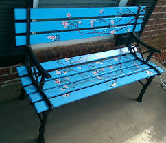 Lowes Patio Bench Diy Painted Park Bench Painted Cherry Blossoms Lowes Has Perfect