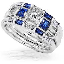 diamond weddings rings images Blue sapphire diamond wedding rings set 1 1 3 ct ctw in 14k jpg