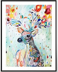 colorful deer counted cross stitch cotton