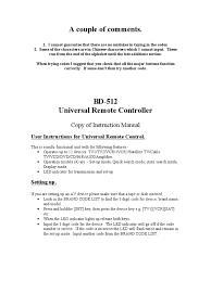 bd 512 instruction manual edited remote control