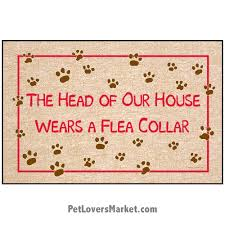funny doormats funny doormats dog placemats head of our house wears a flea collar