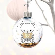 Baby S First Christmas Bauble Glass personalised baby u0027s first christmas teddy bear bauble by
