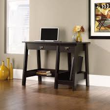 Best Buy Desks Amazon Com Sauder Trestle Desk In Jamocha Wood Kitchen U0026 Dining