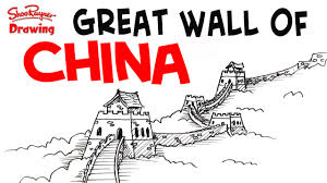 Great Wall Of China On Map by How To Draw The Great Wall Of China Easy Step By Step For