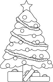 line art christmas tree clipart