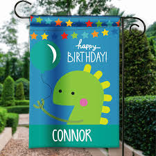 Decorative Garden Flags Dino Monsters Happy Birthday Personalized Party Banner Garden Flag