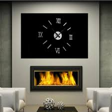 new silver diy 3d roman numbers watch clock home decor mirror face