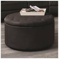 decoration ideas beautiful black leather round ottoman with dark