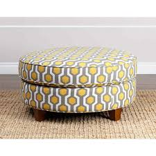 ottoman with patterned fabric abbyson living conway yellow pattern fabric round ottoman living