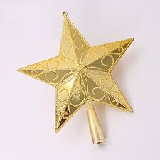 tree toppers 2pcs five pointed gold christmas tree topper home ornaments