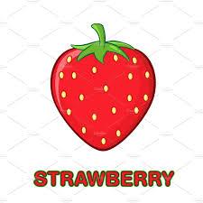 strawberry fruit cartoon flat design illustrations creative market
