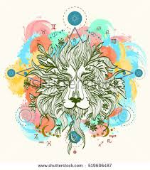 lion totem tattoo crossed arrows color stock vector 538004983