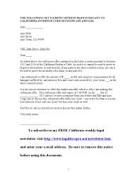 Letter To Attorney Sample by Sample California Settlement Offer Letter