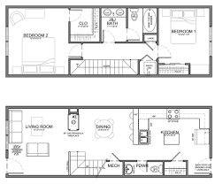 Narrow Home Floor Plans by Apartment Unit Plans Residential Units Are 20 Wide Or Wider But