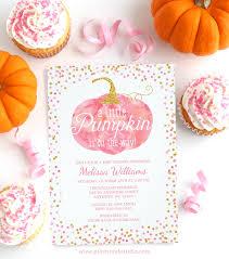 pumpkin baby shower pink and gold fall pumpkin baby shower invitations print creek