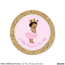 ethnic ballerina princess pink gold baby shower classic round