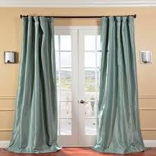 Teal Taffeta Curtains Solid Faux Silk Taffeta Robin S Egg 84 Inch Curtain Panel