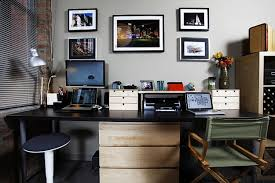 black home office computer desk with printer storage and wooden