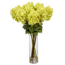 nearly natural 40 in h yellow giant hydrangea silk flower