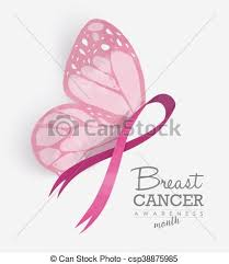 pink ribbon with butterfly wings for breast cancer breast