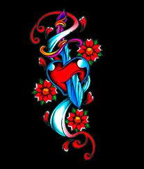 heart dagger with flowers tattoo design tattoos book 65 000