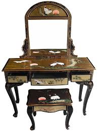 oriental chinese furniture gold leaf dressing table set with