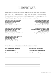limericks worksheet free esl printable worksheets made by teachers