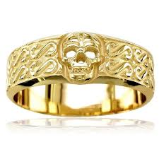 mens yellow gold wedding bands mens wide skull wedding band ring with s pattern in 18k yellow