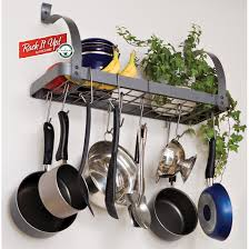decor wall mount pots and pans rack for kitchen storage ideas and