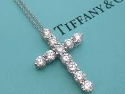 tiffany u0026 co diamond cross necklace platinum large model 1 71 tcw