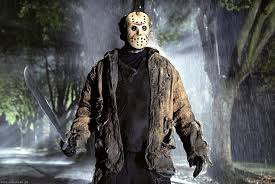 Jason Mask Man Wearing Friday The 13th Style Hockey Mask Forces Cars To