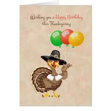 turkey balloons thanksgiving birthday card zazzle com