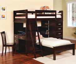 Modern Bunk Bed With Desk Rich Cappuccino Finish Modern Bunk Bed W Desk Chair