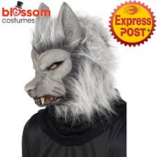 ac154 grey werewolf mask mens ladies halloween wolf costume