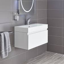 milano stone gloss white wall mounted vanity unit mino 800 drawer unit and basin white gloss bathstore with regard to